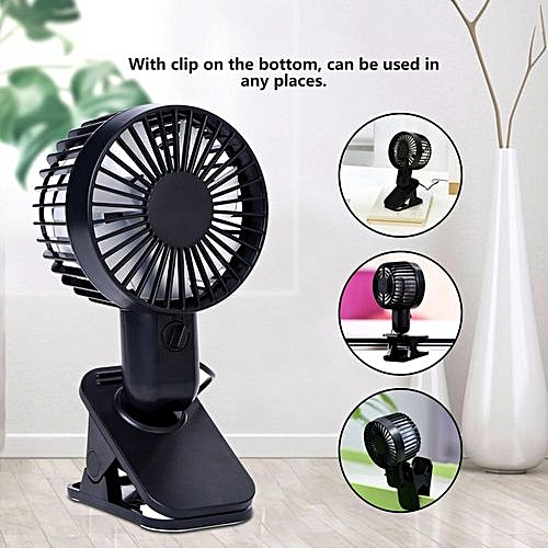 USB Power Mini Clip Table Fan Double Blades Ultra-Silent Portable 2 Speeds  Adjustable