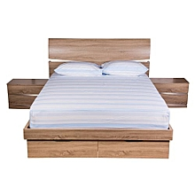 3pc - Fitted Bed Sheet - Double - 180T - Blue Stripes