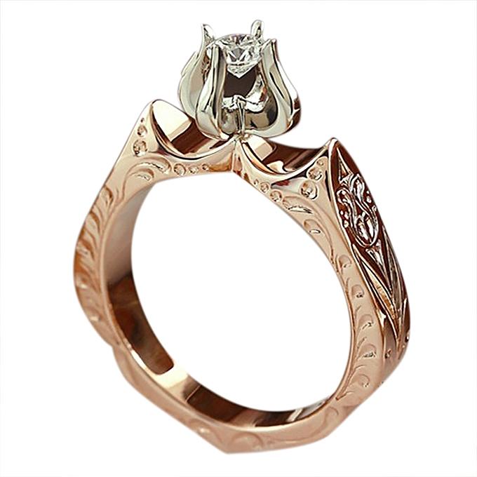 Fashion Luxury Fashion Ladys Diamond Wedding Ring Engagement Lotus