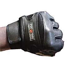 Genuine Leather Weight Lifting Gym Gloves Black
