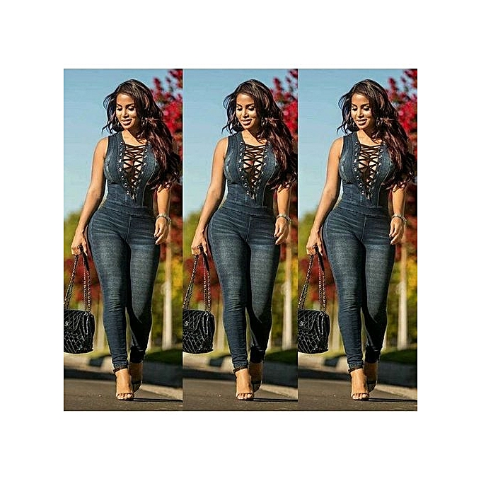 c748967e6e9a Hot Sale New Style Denim Rompers Overalls Women Skinny Jeans Sexy Blue Lace- up V