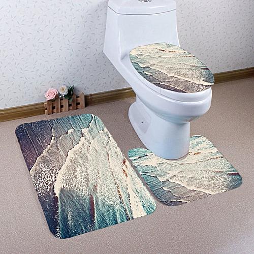 3PCS Bathroom Non-Slip Pedestal Rug + Lid Toilet Cover + Bath Mat Set