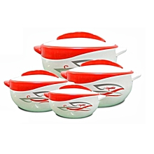 Set of 4 Parisa Thermo Dish Hot or Cold Casserole Serving Bowls with Lids Red
