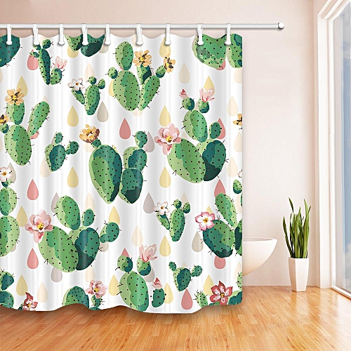 Cactus Shower Curtain 12 Hooks Waterproof Polyester Bathroom Decor 180x180cm
