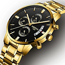 fc1a435deb8 Nibosi Mens Chronograph Gold Black Metalic Fashion Wrist Watch