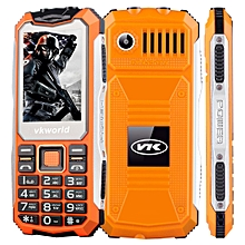 VKworld Stone V3S Quadruple Phone, Anti-Low Temperature Daily Waterproof Shockproof Dustproof, 2.4 inch, 21 Keys, Dual LED Light, FM , BT, Dual SIM, Network: 2G, Russian Keyboard(Orange)