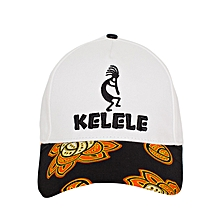 White And Black Baseball / Sports Hat With Kelele Color On Brim