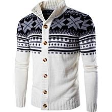 New Men's Sweater Fashion Big Snowflake Knit Cardigan Sweater Jacket-white