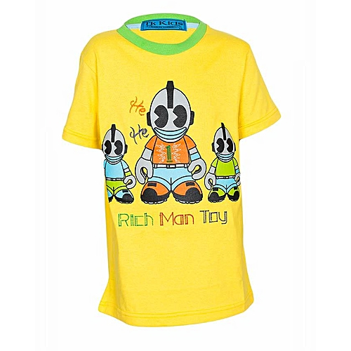 Buy generic yellow t shirt with screen print of rich man for Cost to screen print t shirts