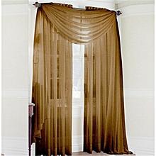 Glass Yarn Sheer Window Valance Curtain Pure Color Bedroom Home Wedding Decor-Coffee.,