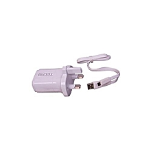 TECNO 3-Pin, 2 in 1 travel charger - White