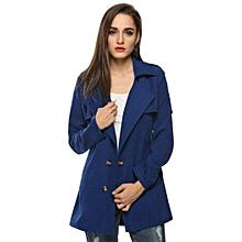Zeagoo Women Fashion Double-Breasted Long Trench Coat Jacket ( Dark Blue )