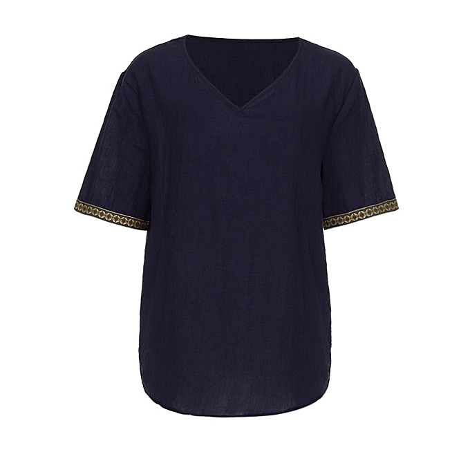 65c6dbe65 ... Mens Traditional Linen Shirts Casual Short Sleeve V Neck Tops Loose  Blouse ...