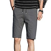 Summer Men Cotton Straight Leg Sport Shorts Casual Elastic Waist Pockets Shorts Knee-Length Shorts