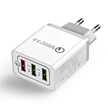 18W Quick Charge 3.0 Mobile Phone Charger 3 Port USB EU  for iPhone Xiaomi, Huawei, Vivo, Samsung