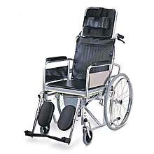Reclining Commode Wheelchair - Black