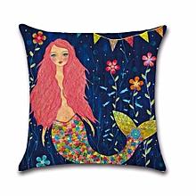 Cartoons Mermaid Cotton Linen Pillow Case Protector Cushion H01