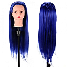24'' Synthetic Fiber Mannequin Head Hairdresser Training Head Cosmetology Doll Head Royal Blue