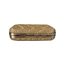 Classic Gold Metal Box Clutch - Gold - 1