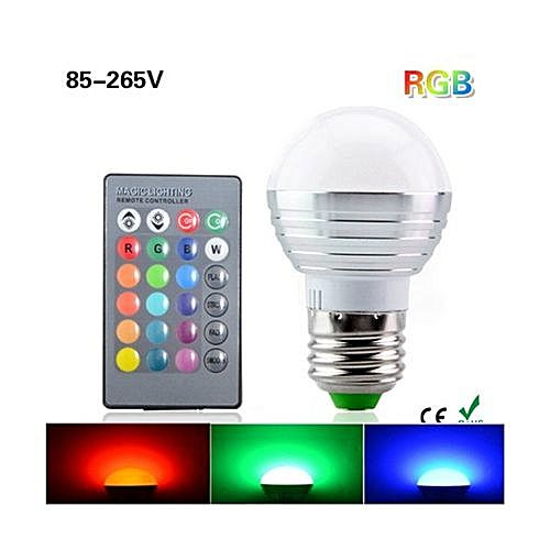 TopOne E27 16 Colors Changing 3W RGB LED Light Bulb LED Lights With IR  Remote Control