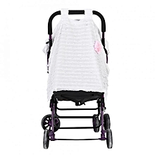 Baby Stroller Seat Cover Breathable Sun Shade Dustproof Blanket White