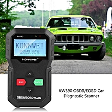 Car Diagnostic Scanner Tool Fault Code Reader KW590 OBDII OBD2 EOBD Black LBQ