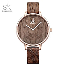 New Creative Women Watch Casual Fashion Wood Leather Simple