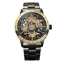 Kobwa Montre Femme Marque De Luxe IK Colouring Men Allochroic Glass Skeleton Auto Mechanical Watch Wristwatches(Gold)