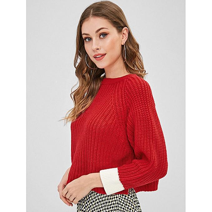 1d0ea1026607 ZAFUL Contrast Cuffs Boxy Sweater