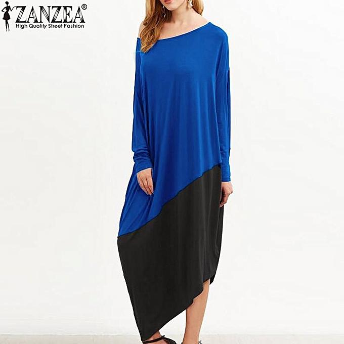 8a274557853 Plus Size S-5XL ZANZEA Women Round Neck Long Sleeve Loose Casual Kaftan  Vintage Asymmetrical