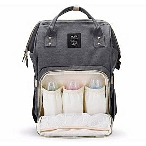 Portable Baby Diaper Bag For Travel Grey Black