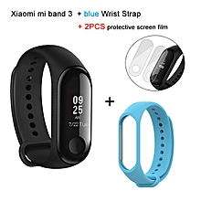 Mi band 3 OLED Heart Rate Monitor Bluetooth 4.2 Smart Bracelet+Light Blue replacement band and 2 free screen protector