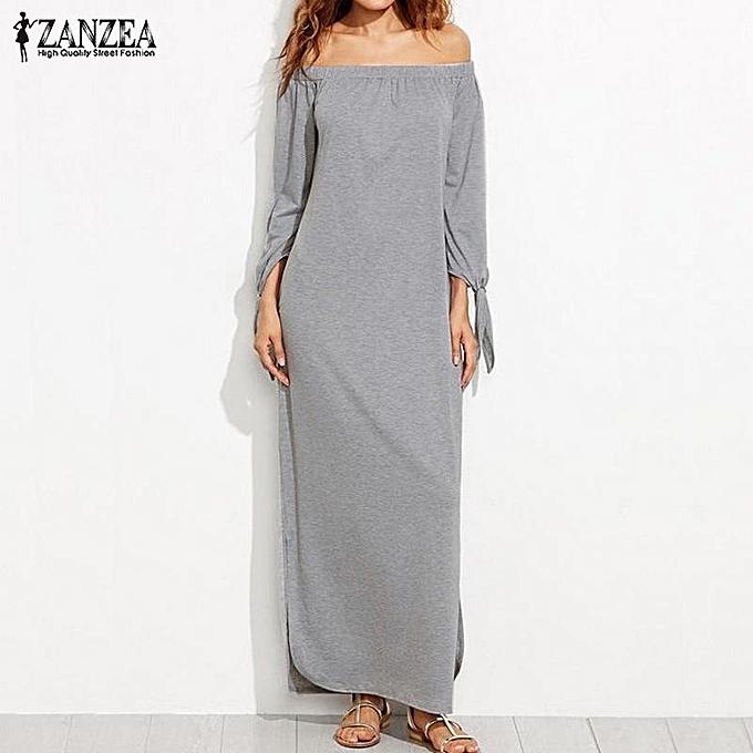 a75feb393757 ZANZEA Women Oversized Slash Neck Off Shoulder Long Maxi Dress Ladies  Bowknot Tie Casual Loose Tops
