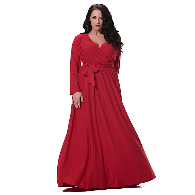 82224e463cb3 Women Plus Size Maxi Dress Sexy V Neck Long Sleeve Solid Belted Cocktail  Party Dress Swing