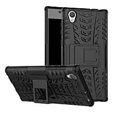 For Sony L1 Case, 3 in 1 Tyre Grain Cobwebs Shock-proof Throw-proof Housing With Foldable Stand Holder TPU + PC Back Cover Case for Sony Xperia L1
