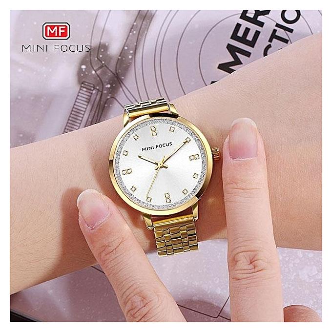 MINI FOCUS Brand Luxury Fashion Women Crystal Jewelry Gold Steel Quartz  Watch Casual Ladies Dress Elegance b54c44a58b