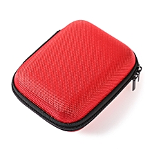 Portable Earphones Accessory Storage Zipper Box-RED