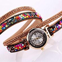 Duoya Women's Wrist Watch  Women Fine Leather Band Winding Analog Quartz Movement Wrist Watch@Yellow