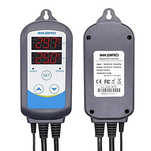 Inkbird ITC-310T-B PreWired 308S + 12'' Replaceable Thermometer NTC-30cm  Probe Digital Dual Stage Temperature Controller For Aquarium Heaters  Reptile