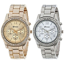 Geneva Women's  Wrist Watch  2 PACK  Silver And Gold Plated Classic Round Ladies Boyfriend Watch@As Show