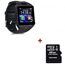 DZ09 Smart Watch Phone for Android and Apple Black + Free 16gb Memory Card - Black