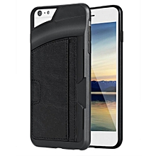 Synthetic Leather Silicone Patchwork Card Slot Soft Case Cover For 5.5inch Apple iPhone6 Plus-Black