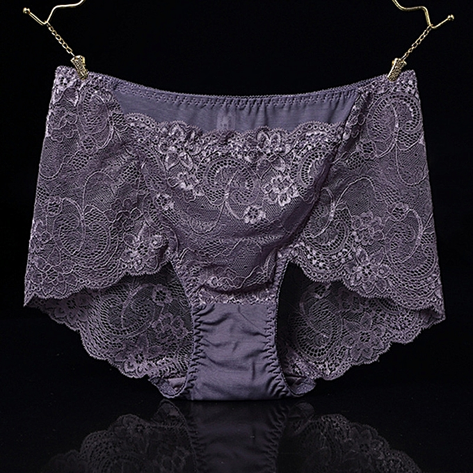 1b1a3adea1 Sexy high waist lace panties female seduction transparent ladies large size  front pocket briefs-purple1