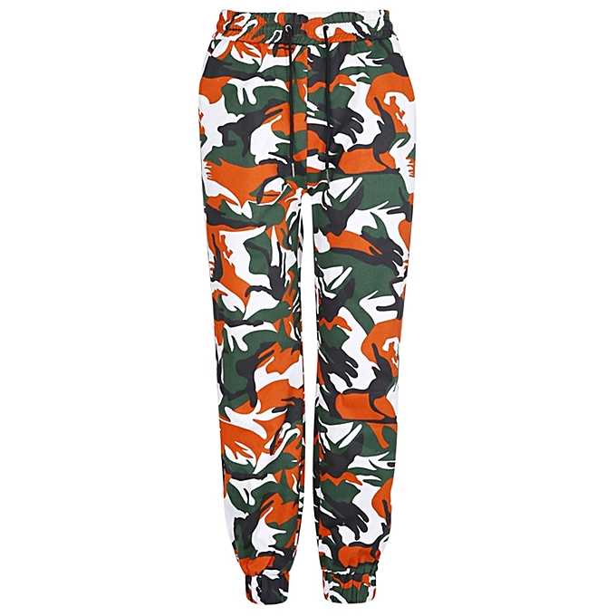 db6716b08a36e3 Female Autumn Camouflage Side Patchwork Loose Harem Pants - GREEN ...