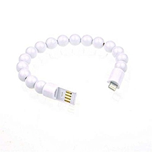 Creative Bead Bracelet USB Charger Sync Data Cable For IOS -White