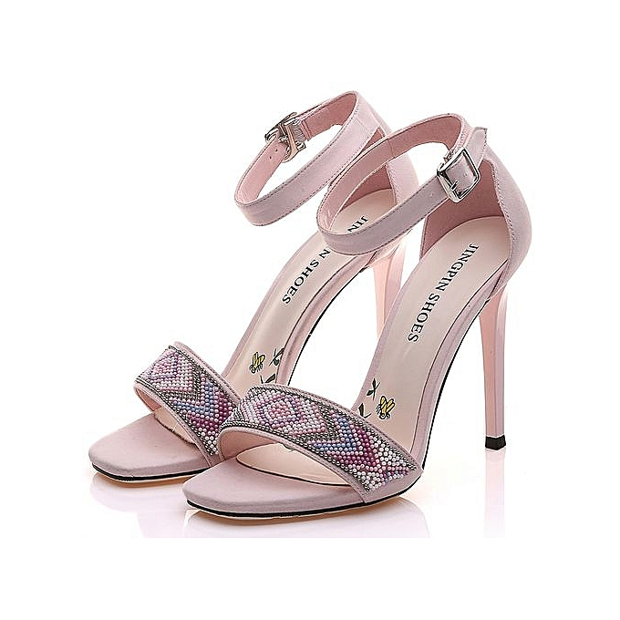 3c1a0e91eaa83 Top Quality String Bead Womens High Heel Sandals Black Pink Ankle Wrap  Summer Shoes Sexy Ladies
