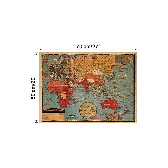 JinGle Retro World Map Removable Wall Sticker (Multicolor)