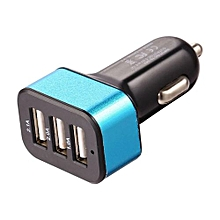 Car Charger Mobile Phone 3 Ports USB  High Quality Adapter For Smart Phones Black