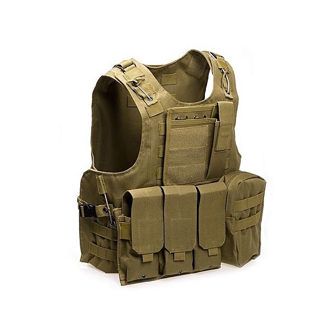 Amphibious Tactical Military Molle Waistcoat Combat Assault Plate Carrier  Vest-KHAKI f4be8c8acf7