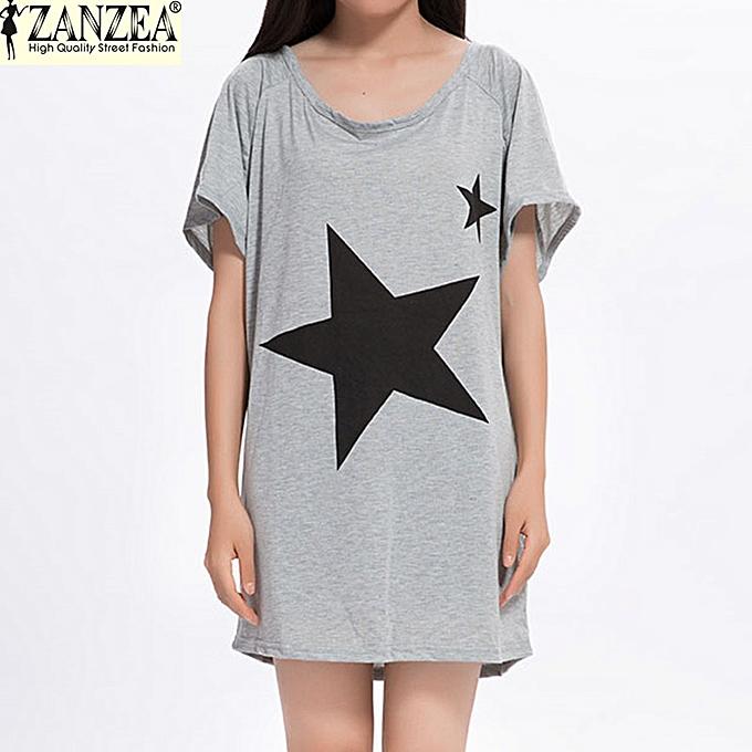 30d51128 ZANZEA Women Short Sleeve Batwing Star Print T-Shirt Summer Tops Blouse  Shirt